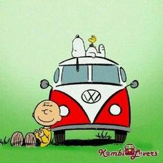 'Day Trippin' In a VW Bus', Charlie Brown, Snoopy, & Woodstock take a Road Trip in the Groovy 60's. by johnnie