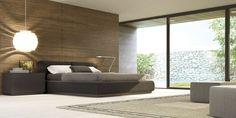 Dormitorios de Matrimonio Colección F 10. Dormitorio Lacado cantera mate y cama tapiz. Microvin 112