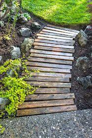 pallet pathway in garden via Funky Junk Interiors