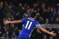 Chelsea's Spanish midfielder Pedro celebrates scoring their third goal during the English Premier League football match between Chelsea and Bournemouth at Stamford Bridge in London on December 26, 2016. / AFP / Ben STANSALL / RESTRICTED TO EDITORIAL USE. No use with unauthorized audio, video, data, fixture lists, club/league logos or 'live' services. Online in-match use limited to 75 images, no video emulation. No use in betting, games or single club/league/player publications. /