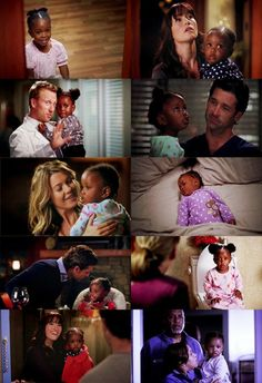 When Derek fixes Zo's hair, it's in the two puffs, when Mer, or (as is the case in the bottom right hand corner) Bailey does Zo's hair, it's braided, or beaded, or... something elaborate.  Not the puffs.