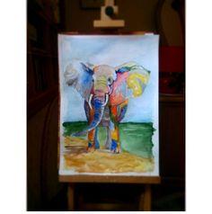 Elefant Watercolor illustration art Artist: Maryna Kovalchuk  instagram.com/dyvokolir