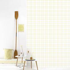 Roomblush behang wallpaper grid yellow behangpapier woonkamer slaapkamer interieur design muurdecoratie