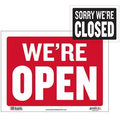 """States """"Open Sign"""" in white and has a red backing States """"Closed Sign"""" on Back in white and has a black backing Durable plastic, weatherproof Bright and highly visible 9 inch x 12 inch sign"""