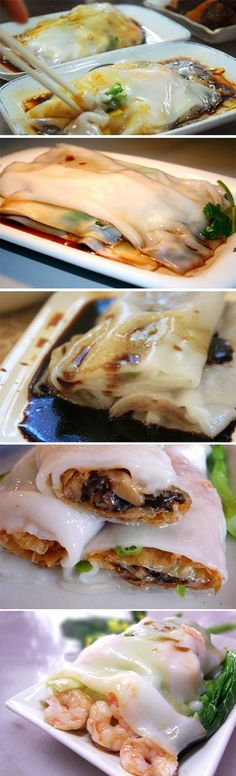 Guangdong rice rolls with soya sauce. (Filling can be beef, pork, chicken, shrimp)