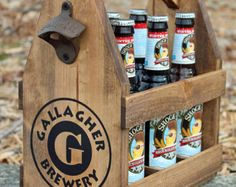 Rustic Wood Beer Tote - Beer Carrier - Beer Caddy - Man Cave - Brewery - Personalized - Tailgate - Bottle Opener - Repurposed - Wood