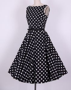 Vintage Scoop Neck Pleated Polka Dot Sleeveless Black Dress For WomenVintage Dresses | RoseGal.com