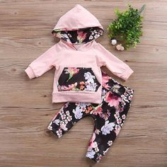 Pinks and Florals are surely every girl's favorite! Make your little girl stand out wearing our Addison Floral Hoodie Set this winter season. Baby Outfits, Toddler Outfits, Kids Outfits, Cute Baby Girl, Baby Girl Newborn, Baby Girls, Baby Girl Outfits Newborn Winter, Little Girl Fashion, Kids Fashion
