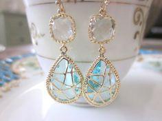 Crystal Aquamarine Earrings Gold Plated Blue Bridesmaid by laalee