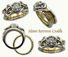 The 'Reverse Cradle' is our newest innovation in our extensive line of custom Engagement and Wedding rings. In concept it is an Engagement Ring with the Wedding band that is removeable. The best part of this concept is that it puts to rest the age old problem of wedding bands that don't really fit with the engagment ring. The inside band has a continuous pattern and can be worn daily by itself, while you are doing your house hold cleaning projects or enjoying outdoor activities... raru.com