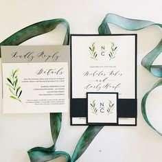 Green and elegant invitation with floral graphics. It also has a black belly band with graphics and initials.   Picture By: Van Tran email: vanvtran2020@gmail.com