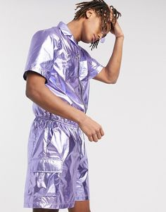 Shop One Above Another utility shorts jumpsuit in metallic purple at ASOS. Short Jumpsuit, Latest Trends, Asos, Metallic, Shorts, Purple, Stuff To Buy, Shopping, Viola