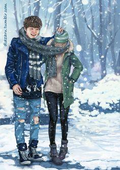 Eu e o meu boy <3 Suga-BTS (Nessas fanarts, os rostos das meninas são cobertos para que você possa se imaginar ao lado de seu bias <3)