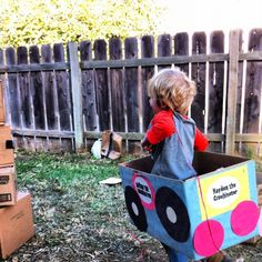 Cardboard box monster trucks for the kids to decorate