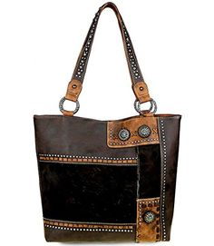 d40a0bef80f Trinity Ranch Hair-On Leather Collection Concealed Handgun Tote- Coffee  Concealed Carry Handbags,
