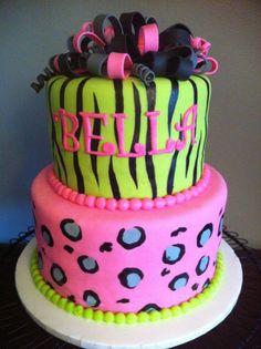 New birthday cake girls teens zebra print Ideas Cupcakes, Cupcake Cakes, Teen Girl Cakes, Neon Sweet 16, New Birthday Cake, 17 Birthday, Birthday Ideas, Birthday Parties, Teen Girl Birthday