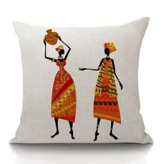 Beautiful Decorative Linen Cotton African women ethnic style art images Pillow cover
