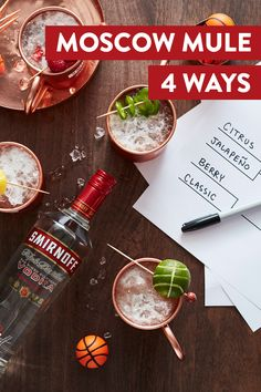 "Four Moscow Mules. Fill out your bracket while enjoying a drink that puts the ""slam"" in dunk. Jalapeño: oz Smirnoff No. 21 Vodka infused with jalapeño, 3 oz ginger beer, 1 oz lime juice, 1 thinly sliced jalapeño. Bar Drinks, Cocktail Drinks, Cocktail Recipes, Alcoholic Drinks, Beverages, Cocktails, Drink Recipes, Healthy Low Carb Recipes, Healthy Crockpot Recipes"