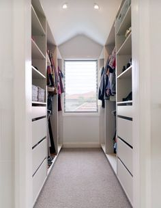 Walk In Closet Small, Walk In Closet Design, Closet Designs, Tiny Closet, Master Bedroom Closet, Bedroom Wardrobe, Wardrobe Closet, Wardrobe Ideas, White Wardrobe