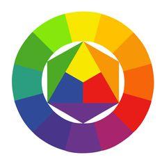 Kleuren die in de kleurencirkel tegenover elkaar liggen, zijn complementair en passen daarom goed bij elkaar.