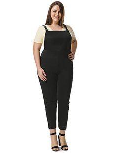 fe14f3dc892f Alya Women Plus Size Overalls w Side Pockets 2X Black  gt  gt  gt