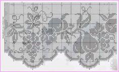 lo spazio di lilla: A gentile richiesta...Schemi di bordi a filet con l'uva per Lucia. Filet Crochet Charts, Crochet Doily Patterns, Crochet Doilies, Crochet Lace, Crochet Curtains, Crochet Tablecloth, Crochet Fruit, Chrochet, Beautiful Crochet
