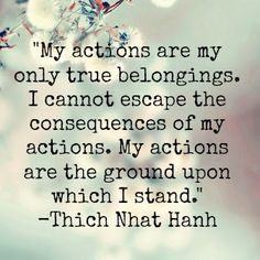 """""""My actions are my only true belongings. I cannot escape the consequences of my actions. My actions are the ground upon which I stand."""" Thich Nhat Hanh"""