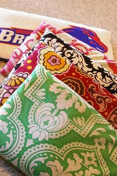 DIY Wheat (can use rice) Therapy sacks. These can also be made to fit casserole carriers to keep casseroles warm.