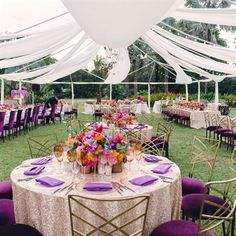 I love everything about this outdoor wedding reception