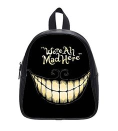 Alice in Wonderland We're all mad here Cheshire Cat Smile Face Custom School Bag Backpack L -- Check out the image by visiting the link. #Backpacks