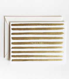 Rifle Paper Co. gold + stripes thank you notes. Paint Stripes, Gold Stripes, Bussiness Card, Thank You Note Cards, Coral And Gold, White Gold, Rifle Paper Co, Planner, Lettering