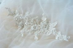 Ivory Sequin and Beaded Lace Applique Wedding Lace Applique Bridal Lace, Wedding Lace, Wedding Flowers, Lace Weddings, Beaded Lace, Lace Applique, Lace Trim, Sequins, Ivory