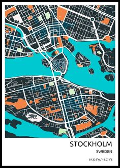 Hand-crafted metal posters designed by Vedran M Design City, Map Design, Planning School, Stockholm City, Bag Illustration, Map Painting, City Map Poster, Abstract City, City Maps