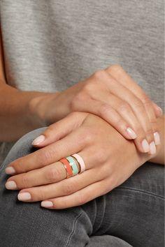 Inez and Vinoodh Enameled 18-karat gold rings