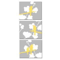 Modern Birds Trio - Set of Three 8 x 10 Coordinating Bird on a Branch Prints - Gray, Yellow, and White