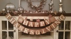 Happy Thanksgiving Banner Thankful Garland by RusticBurlapBanners