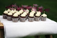 Chocolate cupcakes with flags