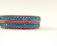 Teal Leather Wrap Bracelet  teal czech glass on tan by Wrapology, $38.00