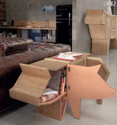 Sending Pig Animal Wood Crate Shelf Cabinet by Seletti - zillymonkey