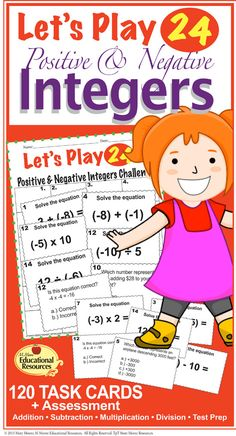 Do you want your students to totally grasp positive & negative integers and have fun? This is the Ultimate Task Card Game to help your students understand all operations with positive & negative integers! School Resources, Teacher Resources, Math Games, Learning Activities, Negative Integers, Solving Equations, 7th Grade Math, Secondary Math, Cooperative Learning