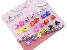 Color Dice Fashion Stud Earrings for Teen Girls Women, Pack of 12 Pairs Skyblue. $9.99. Come with Princess Earring Cards. Color: various of colors. Size: around 5~8mm. Post & back : Steel post and butterfly back. Quantity: total 12 pairs