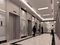 clean looking elevator lobby