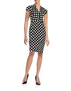 Betsey Johnson Dotted Sheath Dress Women's Black/Ivory 2