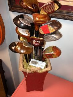 Golf Clubs Repurposed Vintage Golf Club Woods Bouquet - Gifts For Men -