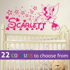 Any custom name PERSONALISED Disney MINNIE MOUSE tinkerbell fairy with magic wand wall sticker decal art for baby girls nursery, bedroom, playroom