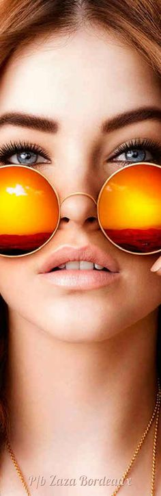 Orange Fashion, Colorful Fashion, Round Sunglasses, Mirrored Sunglasses, Shady Lady, Look Into My Eyes, Oranges And Lemons, Orange Color, Orange Shades