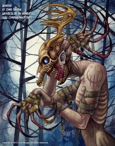 """I've been a big fan of both Larry Fessenden and Doug Jones for a long, long time. In 2001 Fessenden released a movie called """"Wendigo""""; Creepy Clown, Creepy Art, Scary, Fantasy Creatures, Mythical Creatures, Mythological Creatures, Painting & Drawing, Watercolor Paintings, Trippy Painting"""
