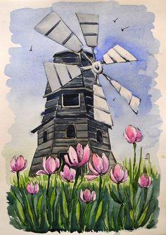 Watercolor Sketch, Watercolor Illustration, Watercolor Paintings, Indian Art Paintings, Modern Art Paintings, Guache, Art Drawings Sketches Simple, Acrylic Painting Canvas, Painting & Drawing
