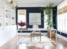 A home office with white built-in cabinets and walls painted Benjamin Moore Deep Royal, a pretty navy blue paint color idea. Blue Office, White Office, Home Office Design, Home Office Decor, Home Decor, Office Ideas, Office Inspo, Home Office Paint Ideas, Office Designs