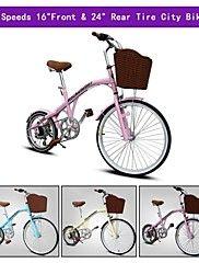 """7 velocidades delanteras de 16 """"y trasera de 24"""" rc ™ mini bici de la ciudad Shimono desviador bicicleta plegable bicicleta bicicleta de carretera"""